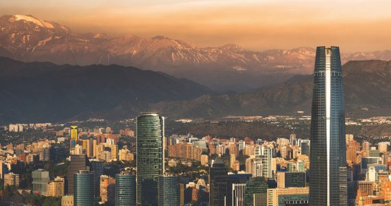 View of Santiago de Chile with Los Andes mountain range in the back